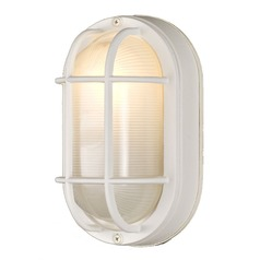 Design Classics 8-Inch Oval Bulkhead Light with 8-Watt LED Bulb 4514 WH  8W LED
