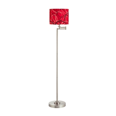 Swing Arm Floor Lamp with Red / Grey Patterned Drum Lamp Shade
