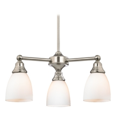 Design Classics Lighting Mini-Chandelier with White Glass in Satin Nickel Finish 598-09 GL1028MB
