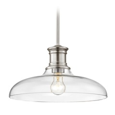 Nautical Pendant Light Satin Nickel with Clear Glass 14-Inch Wide