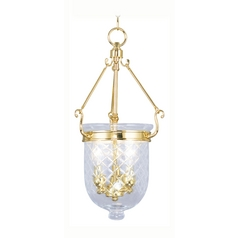 Livex Lighting Jefferson Polished Brass Pendant Light with Bowl / Dome Shade