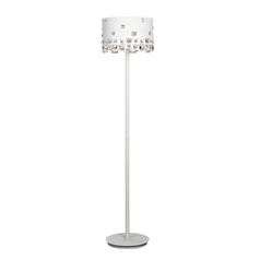 Lite Source Lighting Isabella White Floor Lamp with Drum Shade