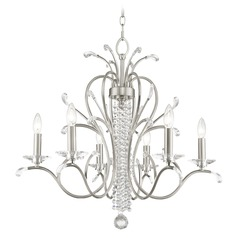 Livex Lighting Serafina Brushed Nickel Crystal Chandelier