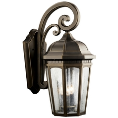 Kichler Outdoor Wall Light with Clear Glass in Rubbed Bronze Finish