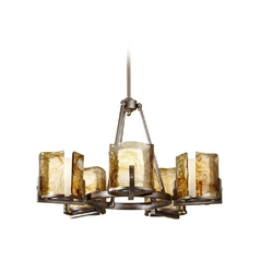 Modern Chandelier with Art Glass in Roman Bronze Finish