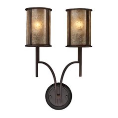 Sconce Wall Light with Brown Mica Shades in Aged Bronze Finish