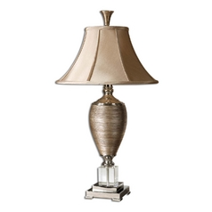 Table Lamp with Beige / Cream Shade in Gold / Polished Chrome Finish
