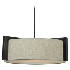 Drum Pendant Light with Beige / Cream Shade in Madera Bronze Finish