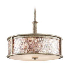 Kichler Drum Pendant Light in Distressed Antique White Finish