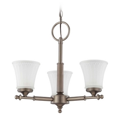 Modern Mini-Chandelier with White Glass in Aged Pewter Finish