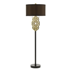 Floor Lamp with Black Shade in Oil Rubbed Bronze Finish