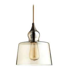Quorum Lighting Oiled Bronze W/ Amber Mini-Pendant Light with Drum Shade