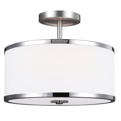 Feiss Lighting Prospect Park Satin Nickel / Chrome Semi-Flushmount Light