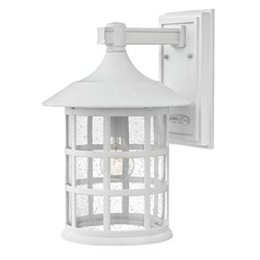 Seeded Glass LED Outdoor Wall Light Classic White Hinkley Lighting