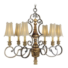Chandelier with Amber Shades in Habana Night / Gold Highlights Finish
