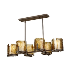 Feiss Modern 6-Light Chandelier with Art Glass in Roman Bronze