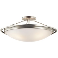 Kichler Brushed Nickel Semi-Flushmount Light with White Glass