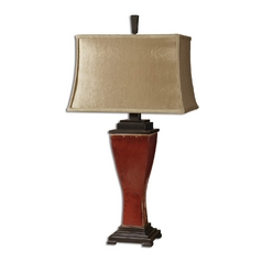 Table Lamp with Beige / Cream Shade in Red Glaze Finish
