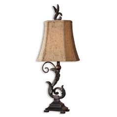 Table Lamp with Brown Shades in Matte Black Finish