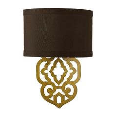 Sconce Wall Light with Brown Shade in Satin Brass Finish
