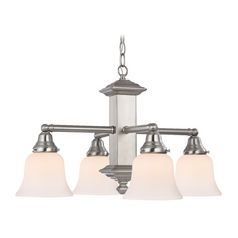 Design Classics Lighting Craftsman Chandelier with Four lights - Satin Nickel Finish 375-09 / G9110