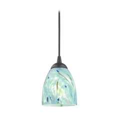 Black Mini-Pendant Light with Turquoise Art Glass Shade