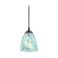 Art glass mini pendant lights art glass hanging lights black mini pendant light with turquoise art glass shade mozeypictures Gallery