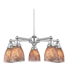 Chandelier with Brown Art Glass in Polished Chrome Finish