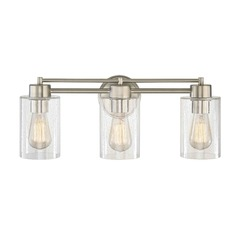 Seeded Glass Bathroom Light Satin Nickel 3 Lt
