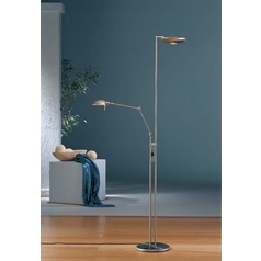 Holtkoetter Modern Torchiere Lamp in Satin Nickel Finish