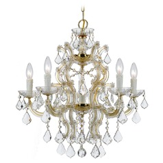 Crystorama Maria Theresa 6-Light Crystal Chandelier in Gold
