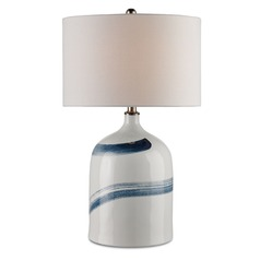 Currey and Company Essay Bone White/blue Table Lamp with Drum Shade