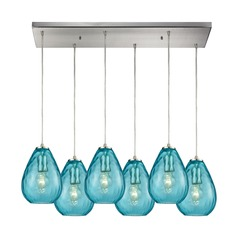 Lagoon Satin Nickel Multi-Light Pendant with 6 Oblong Blue Shades