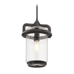 Seeded Glass Outdoor Hanging Light Weathered Zinc Andover by Kichler Lighting