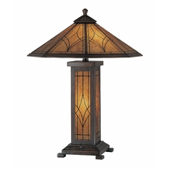 Lite Source Lighting Odessa Dark Bronze Table Lamp with Hexagon Shade