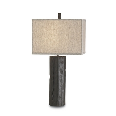 Modern Table Lamp with Beige / Cream Shade in Mole Black Finish