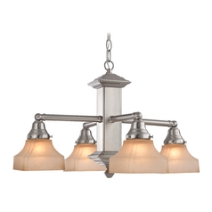 Design Classics Lighting Arts & Crafts Chandelier with Four Lights  375-09 / G9415C