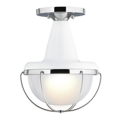 Feiss Lighting Livingston High Gloss White / Polished Nickel Semi-Flushmount Light