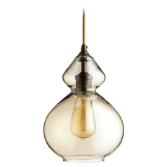 Quorum Lighting Oiled Bronze W/ Amber Mini-Pendant Light
