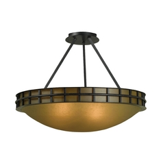 Semi-Flushmount Light with Amber Glass in Forged Graphite Finish