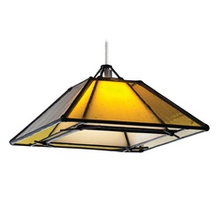 Seeded Glass Mini-Pendant Light Bronze with Square Shade by Tech Lighting