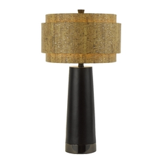 Modern Table Lamp with Brown Cork Shade in Black Pearl Finish
