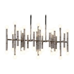 Mid-Century Modern Chandelier Polished Nickel Jonathan Adler Meurice by Robert Abbey