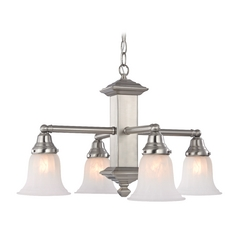 Design Classics Lighting Craftsman Chandelier with Alabaster Glass Shades 375-09 / G9430
