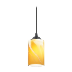 Modern Mini-Pendant Light with Butterscotch Art Glass Shade