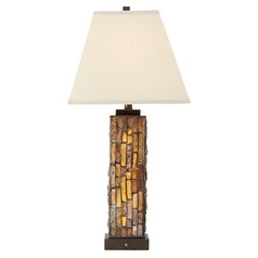 Creek Tiffany Bronze Table Lamp with Natural Linen Square Shade