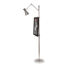 Mid-Century Modern Floor Lamp Polished Nickel Jonathan Adler Bristol by Robert Abbey