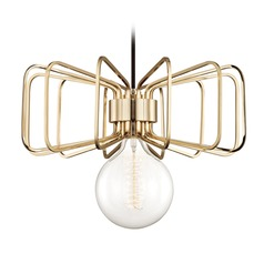 Mid-Century Modern Pendant Light Brass Mitzi Daisy by Hudson Valley