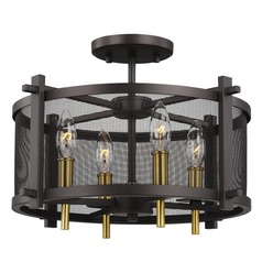 Feiss Lighting Palmyra Oiled Rubbed Bronze / Burnished Brass Semi-Flushmount Light