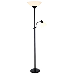 Adesso Piedmont Torchiere Floor Lamp with Reading Lamp in Black Finish